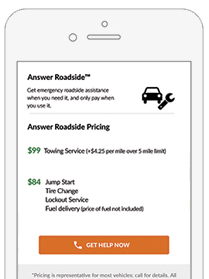 Answer Roadside in-app page Screenshot