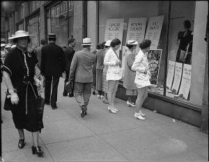 Vintage photo of window shopping at Simpsons