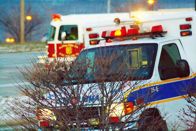 Ambulance and fire engine responding to a 911 call