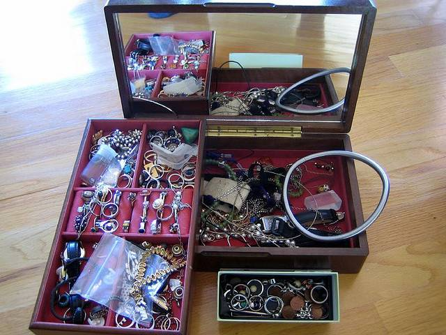 Jewelry box filled with a variety of jewelry