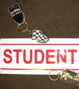 Student driver sign with key tags