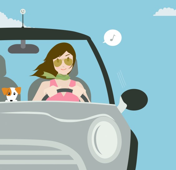 vector graphic image of a woman driving with her pet dog inside car