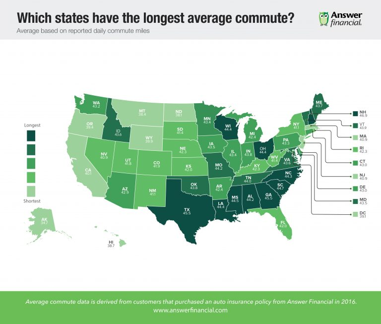 map showing states with the longest commute