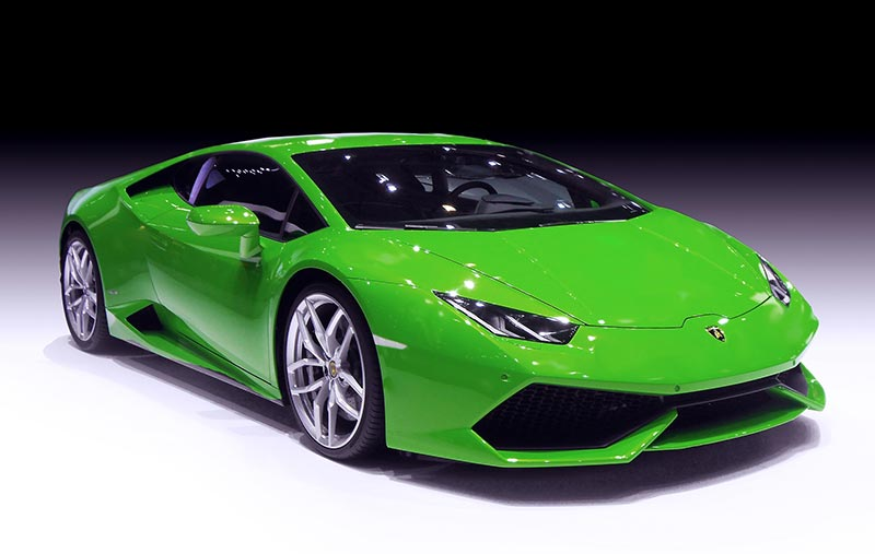 Light green Lamborghini Avantador